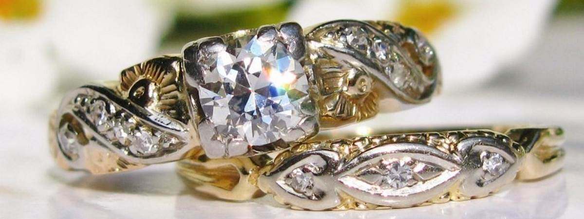 two antique diamond rings
